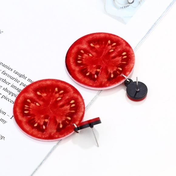 Red Tomato Earrings Food Stud Earrings Post Tomato Jewelry Vegetable Earrings Vegetable Studs Vegetable Jewelry Food Earrings Tomato Gift